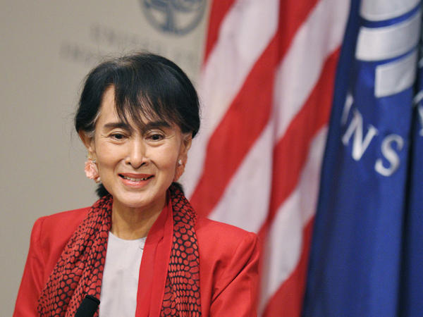Myanmar's Member of Parliament and democracy icon Aung San Suu Kyi speaks at the United States Institute of Peace in Washington, DC. The Nobel Peace Prize laureate is making her first visit to the U.S. in twenty years.