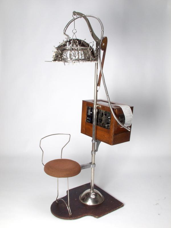 The Psychograph. It looks like something you'd find in your grandmother's hair salon, but this machine supposedly read the bumps on a person's head to measure personality traits.