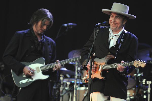 Bob Dylan performs on stage during the 21st edition of the Vieilles Charrues music festival on July 22, in Carhaix-Plouguer, western France.