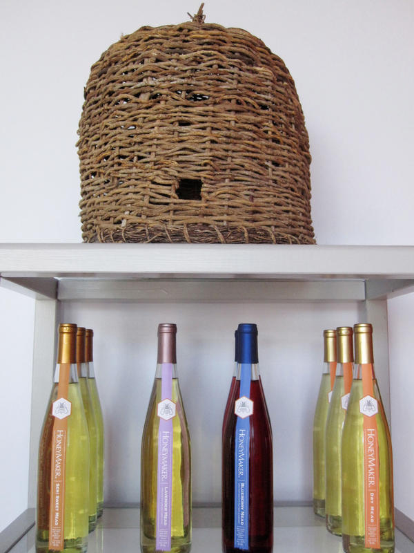 An ancient beehive sits on a shelf at Maine Mead Works meadery in Portland, Me.