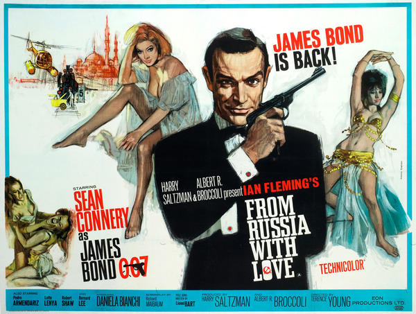 <strong>1963:</strong> Instead of a Walther PPK, Bond holds a more impressive-looking, long-barreled Walther LP-53 air pistol, which belonged to the photographer. This pose became a famous, instantly recognizable Bond image. The poster was designed by Eddie Paul, with art by Italian film poster artist Renato Fratini. <strong></strong>