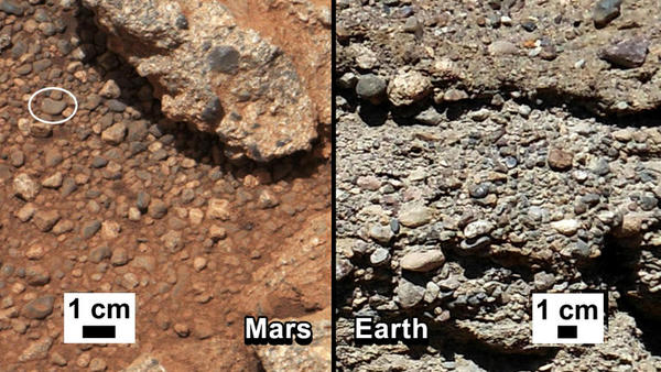 NASA says it has found proof that water shaped the rocks on the left, in a photograph taken by the Mars rover Curiosity (left). For comparison, the agency released an image of rocks from the Earth (right).