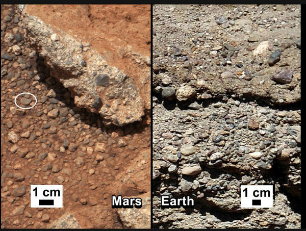 <strong>Curiosity, 2012:</strong> NASA says that water shaped the rocks on the left, in a photograph taken by the Mars rover Curiosity. For comparison, the agency released an image of rocks from the Earth (right).