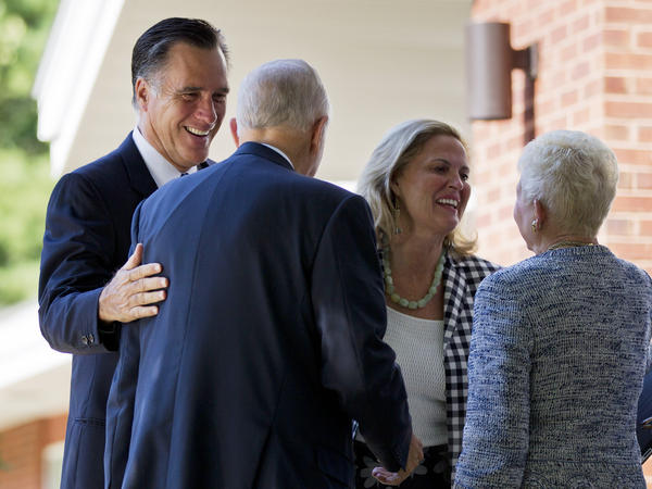 Republican presidential candidate Mitt Romney and his wife, Ann, at the Church of Jesus Christ of Latter-day Saints in Wolfeboro, N.H. The candidate regularly attends church, but he rarely invokes religion on the campaign trail.