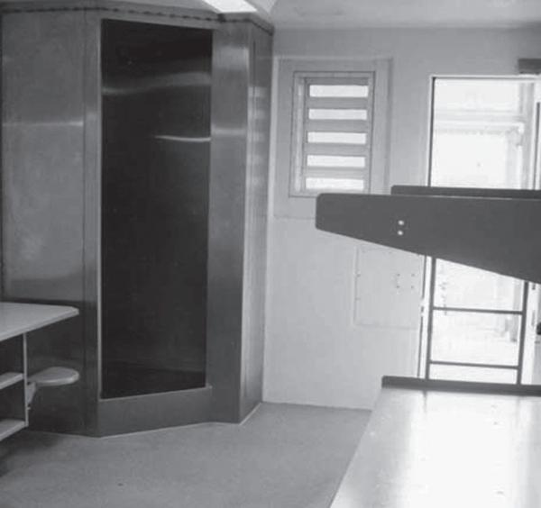A typical special housing unit (SHU) cell for two prisoners, in use at Upstate Correctional Facility and SHU 20.0.s in New York.
