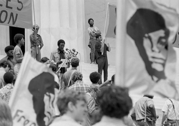 The Panthers were fundamentally a political party. Here, Panther Chief of Staff David Hilliard calls for a new U.S. Constitution from the steps of the Lincoln Memorial in Washington on June 19, 1970, to guarantee all Americans the rights of life, liberty and the pursuit of happiness — rights they say blacks had been denied.