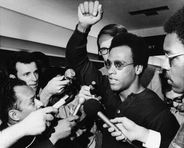 Huey Newton co-founded the Black Panther Party for Self-Defense in 1966 in Oakland, Calif., with Bobby Seale. This 1970 photo shows Newton in Philadelphia'.