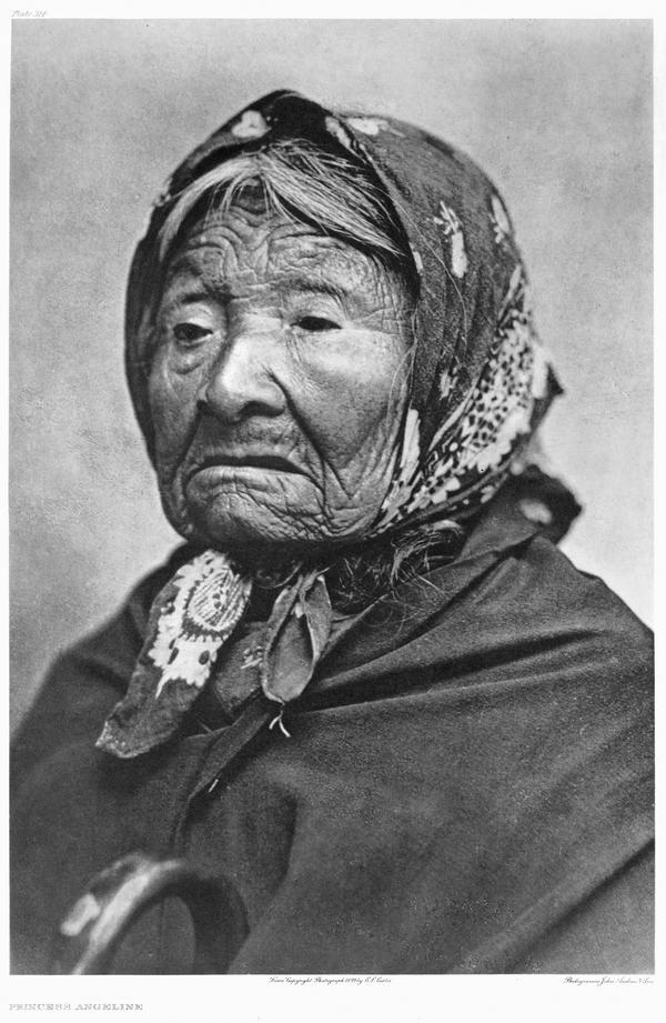 Princess Angeline, the last surviving child of Chief Seattle. Curtis took this photo in his studio in 1896, shortly before Angeline's death, at a time when it was illegal for Indians to live in the city named for her father. He paid her a dollar for the sitting.
