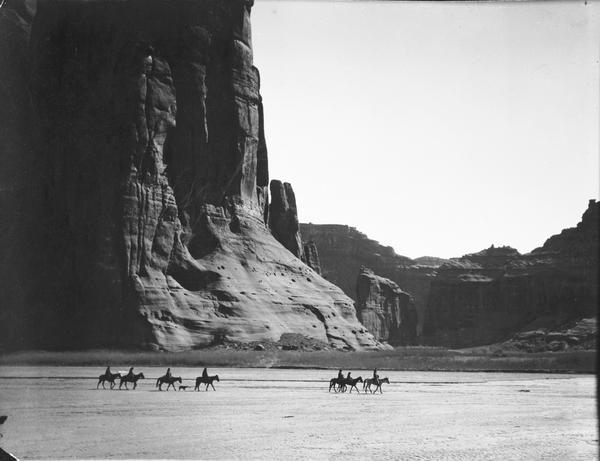 <em>Cañon de Chelly,</em> 1904. In the heart of the Navajo Nation, where stone and sky dwarf humans on horseback, the canyon is one of the most stunning places on Earth.