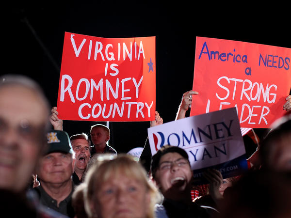Supporters of Republican Mitt Romney during a campaign rally Thursday in Fishersville, Va.