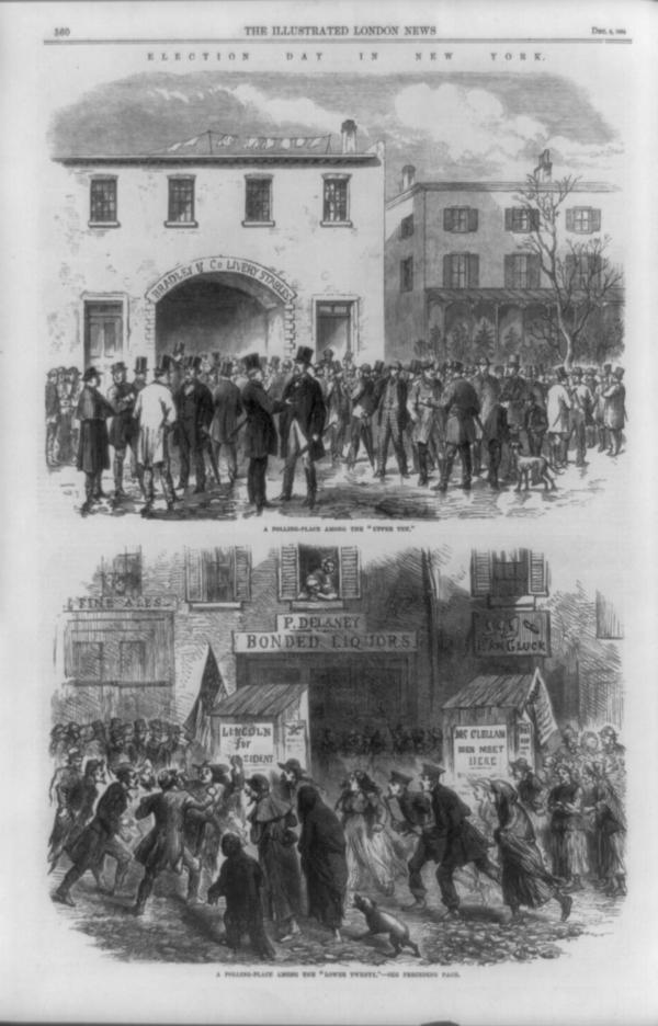 "A print in <em>The Illustrated London News</em> of Dec. 3, 1864, depicts Election Day in a wealthy (top) and poor (bottom) neighborhood in New York. The top caption reads: ""A polling-place in the 'upper ten.' "" The bottom caption reads: ""A polling-place among the 'lower twenty.' "" <a href=""http://media.npr.org/assets/img/2012/10/07/election_archive.jpg"">Click Here To See A Full-Size Image</a>"