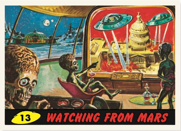 """The card """"Watching From Mars."""""""