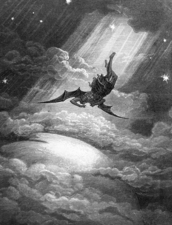 In this Gustave Dore engraving from Milton's <em>Paradise Lost,</em> Satan, the Fallen Angel, is flung from Heaven and nears the confines of the Earth on his way to Hell.