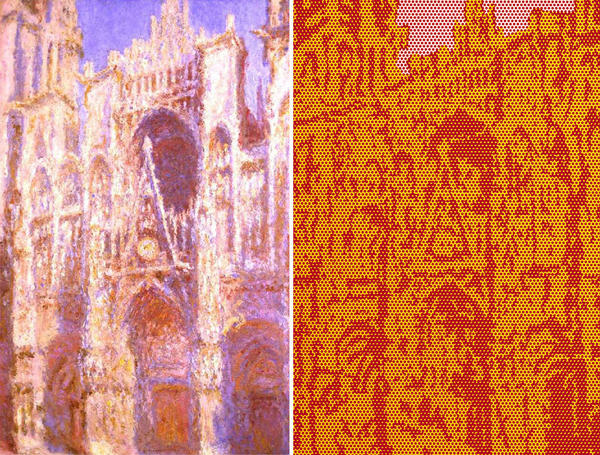 "About 80 years after Claude Monet painted the Rouen Cathedral (left), Roy Lichtenstein did his own take on the iconic landmark (right.) <a href=""http://www.npr.org/templates/story/story.php?storyId=128221023"">Click here to learn more about Monet's Cathedral series.</a>"