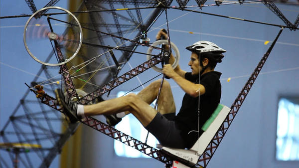 Kyle Glusenkamp pilots Gamera, a human-powered helicopter.
