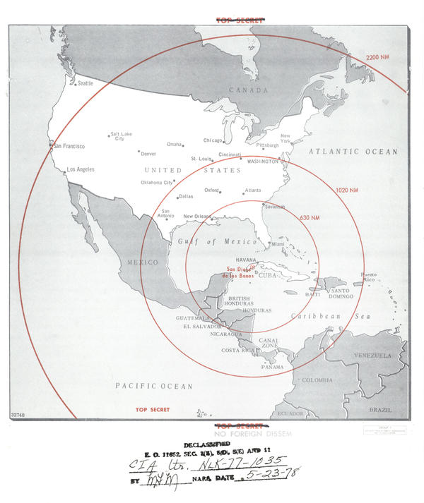 A map prepared by the CIA shows areas and cities within range of nuclear missiles launched from Cuba in October 1962.