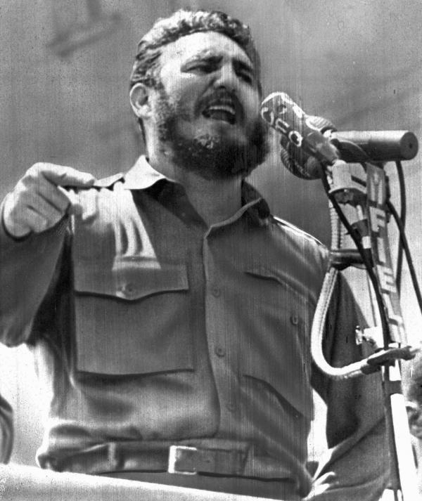 Castro speaks in Havana on April 16, 1961. A day later, a force of Cuban exiles — trained, financed and commanded by the CIA — landed at Playa Giron in the Bay of Pigs, hoping to incite a popular uprising against Castro's government.