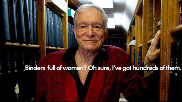 """This photo of Playboy's Hugh Hefner was published on a Tumblr blog devoted to poking fun at the """"women full of binders"""" meme."""