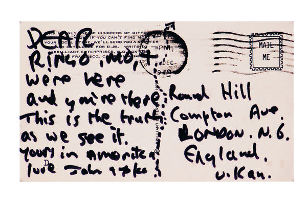 """In December 1970, John Lennon sent fellow Beatle Ringo Starr a postcard that read, """"We're here and you're there. This is the truth as we see it."""""""