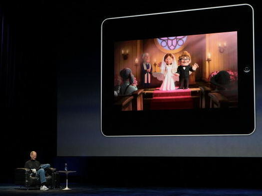 Steve Jobs demonstrates the movie function of the iPad in 2010. The introduction of the tablet as a means of watching movies and television shows contributed to changing viewing habits.