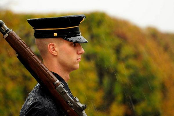 Spc. Brett Hyde, Tomb Sentinel, 3d U.S. Infantry Regiment (The Old Guard), maintains his vigil during Hurricane Sandy while guarding the Tomb of the Unknown Soldier at Arlington National Cemetery, Va.