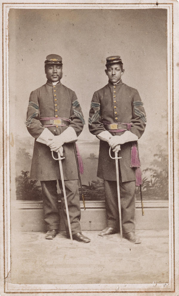 "Sgt. Alexander Herritage Newton (left) and Sgt. Daniel S. Lathrop. ""After obtaining permission to publish [this],"" writes Coddington, ""I discovered Newton's autobiography, <em>Out of the Briars.</em> This honest and able account of his life experiences is one of the best personal Civil War narratives that I have read."""