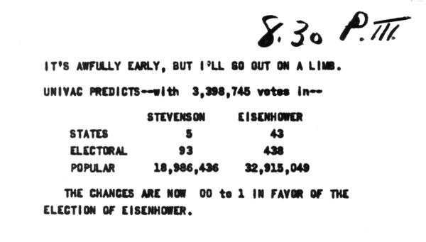 A printout of the UNIVAC prediction of the 1952 presidential prediction.