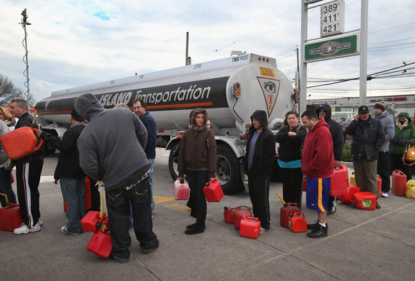 Parts of New York were also suffering fuel shortages, including Staten Island, where there were long lines for gas Friday.