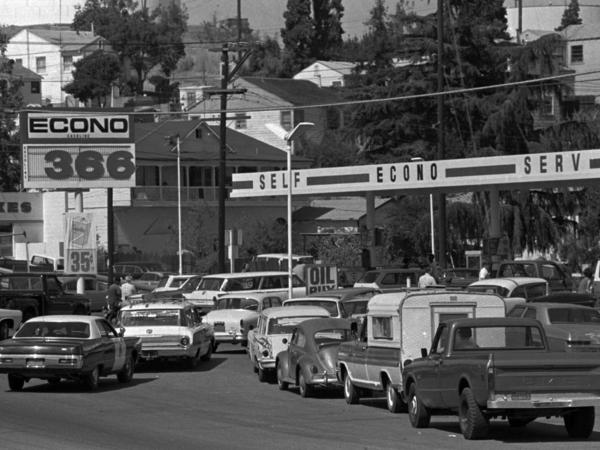 Motorists rush to fill their gas tanks in Martinez, Calif., on Sept. 21, 1973. Northern California service station operators threatened to shut down entirely to protest gas price restrictions.