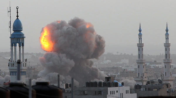 An Israeli airstrike in Gaza City on Nov. 17. More than 80 Palestinians and three Israelis have been killed in the fighting.