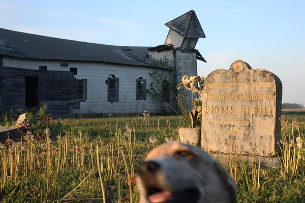 """The Peter's Rock Church in Marianna is no everlasting monument; it has been left to rot, its windows broken, its steeple fallen over. Still, I found it beautiful. Kneeling in the cemetery, listening to the insects hissing, watching as a dog wandered past, I felt history coming at me from all sides."""