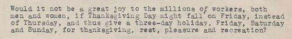 Snippet of a letter F.B. Haviland sent to President Hoover in 1929 asking him to move Thanksgiving to Friday.