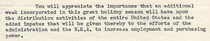 A snippet of a 1933 letter from the Downtown Association of Los Angeles asking President Roosevelt to push back Thanksgiving by a week.