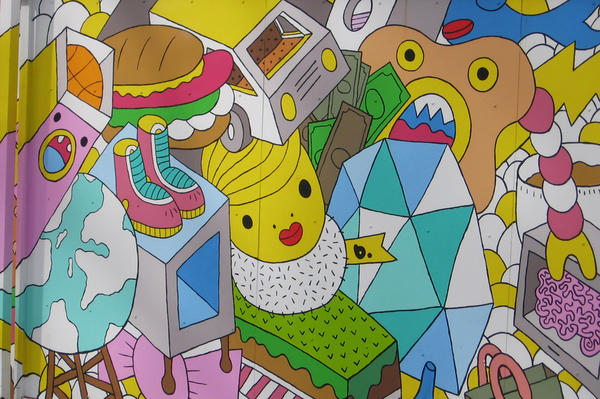 """Greek artist B. calls his mural """"a sea of objects."""" It was added to Wynwood Walls in 2011."""