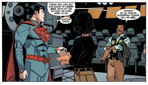 From <em>Action Comics</em> 14, Neil deGrasse Tyson greets Superman to help him with a problem.