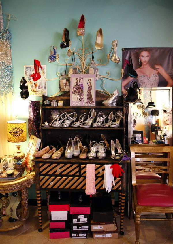 Beauty pageant contestants often need multiple pairs of shoes, like these seen at Deja Vu, per pageant to accompany different outfits. That alone can get pricey.