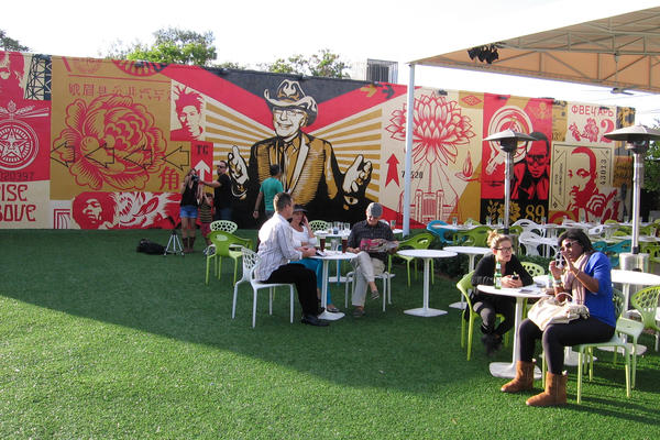 Los Angeles artist Shepard Fairey's new mural revolves around an image of Wynwood Walls founder Tony Goldman.
