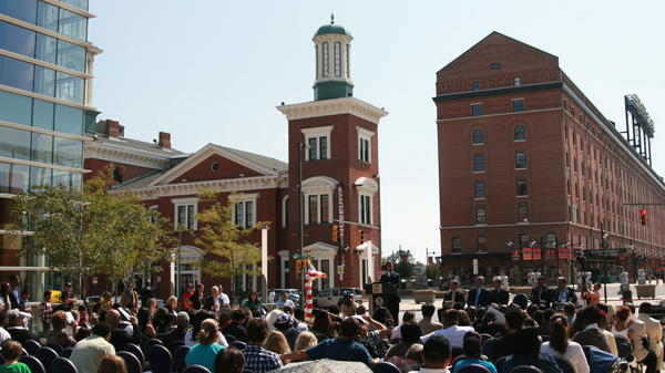 Hundreds gather in Baltimore's harbor Sept. 22 to witness the naturalization of nearly 50 new Americans.
