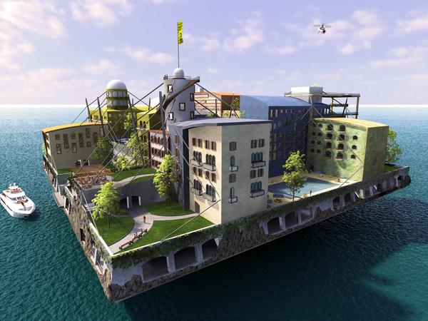 Andras Gyorfi's winning entry in The Seasteading Institute's 2009 design contest. The institute supports the idea of permanent, autonomous offshore communities, but it does not intend to construct its own seasteads.