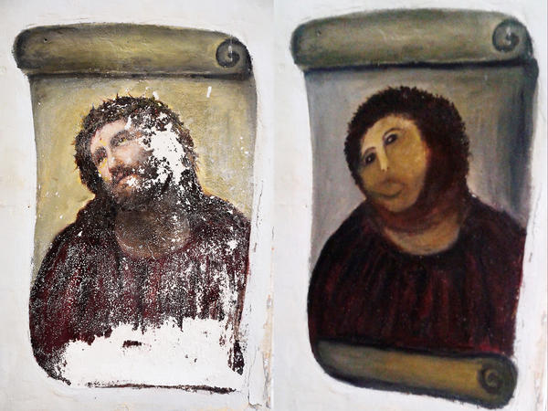 "Cecilia Gí­menez's handiwork: the Ecce Homo (""Behold the Man"") fresco of Christ, left, and the ""restored"" version, dubbed Ecce Mono (""Behold the Monkey"") at right. Now, the artist is trying her hand at selling her own art work."