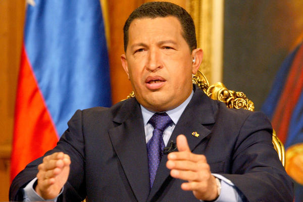 Chavez delivers a televised address on Jan. 5, 2002, two days after clashes between his supporters and opponents left two men dead. He was briefly deposed a few months later in a coup that he claimed the Bush administration was behind.