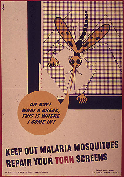 Back on the homefront, public health workers were busy stopping malaria around military bases. This poster, printed by the U.S. Public Health Services between 1941 and 1945, reminded folks to keep malaria-carrying mosquitoes out of the house.