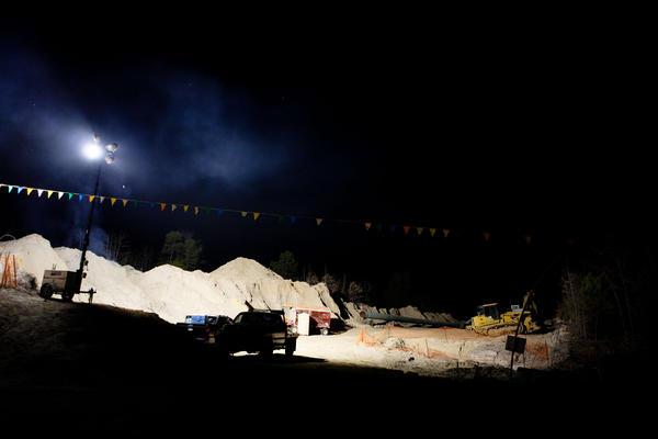 TransCanada's flood lights run throughout the night.