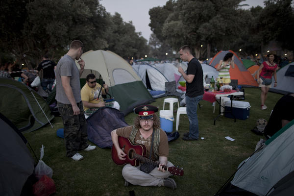 People gather for a Russian folk music festival in northern Israel in May. About 2,000 immigrants from the former Soviet Union attended the two-day festival, singing Russian standards, barbecuing and drinking vodka.