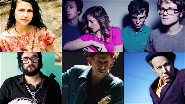 Clockwise from upper left: Lisa Germano, Ra Ra Riot, Tom Waits, Keith Richards, Blaudzun.