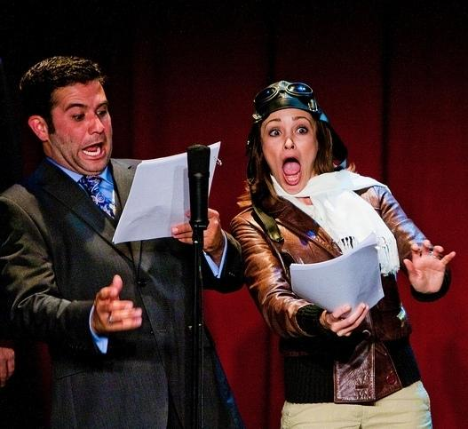 Mark Gagliardi and Autumn Reeser, as aviator Amelia Earhart, perform in<em> The Thrilling Adventure Hour.</em> <strong></strong>Actors dress up and read scripts onstage in front of a live nightclub audience.