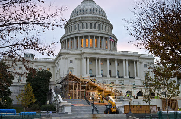 Construction was under way on Capitol Hill in November for President Obama's Inauguration Day ceremonies.