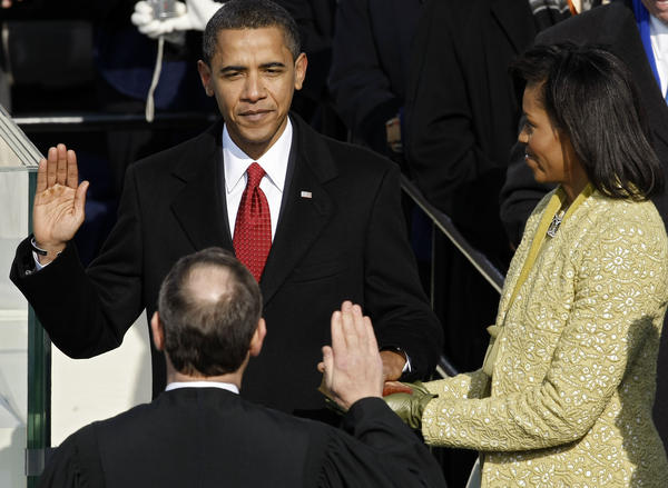 Jan. 20, 2009: Barack Obama is sworn in by Chief Justice John Roberts as the 44th president and the first African-American to be elected to the office.