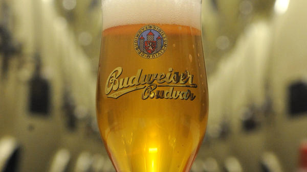 """A glass of Czech Budweiser beer is seen at the the Budejovicky Budvar brewery in southern Bohemia. Britain's highest court has ruled that the """"Budweiser"""" name must be shared by two companies."""