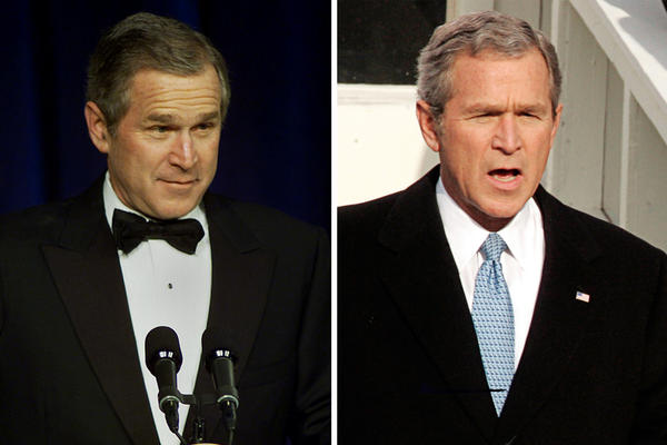 President George W. Bush greeted supporters at an inaugural ball in 2001 (left). Four years later, he was sworn in again on Jan. 20, 2005.